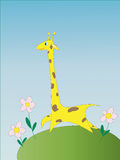 The stylised image of a giraffe. Standing on a glade with flowers Royalty Free Stock Photo