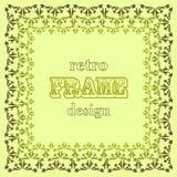 Stylised leaves frame on green background. Vector illustration Stock Images