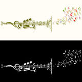 Stylised musical pipe. Made of musical signs Royalty Free Stock Image