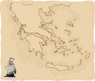 Stylised old Greece map Stock Photography