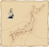 Stylised old Japan map. Stylised old  Japan map with ship and paths Stock Images