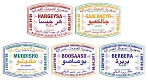 Stylised passport stamps of Somalia royalty free illustration