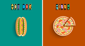 Stylised pizza and hot dog. Vector set Stock Images