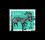 Stylised Stag, 8th Century, Early Irish Art 1974-83 serie, circa 1974. MOSCOW, RUSSIA - NOVEMBER 23, 2017: A stamp printed in Ireland shows Stylised Stag, 8th Royalty Free Stock Photos