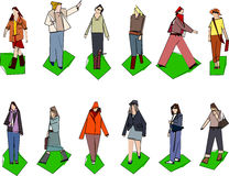 Stylised women. A few stylised / simplistic women illustrations with outlines Stock Images