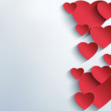 Stylish abstract background with 3d red hearts Royalty Free Stock Photography