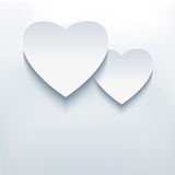 Stylish abstract background, two 3d hearts Royalty Free Stock Image