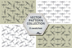 Stylish abstract dragonfly four pattern. Royalty Free Stock Photo