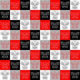 Stylish abstract pattern of different butterflies in squares. Stylish abstract pattern of a different butterflies in squares Stock Photos