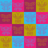 Stylish abstract pattern of multicolored butterflies in squares. Stylish abstract pattern of a multicolored butterflies in squares Royalty Free Stock Photo