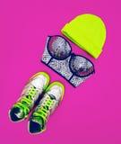 Stylish accessories glamorous lady. Set to the party: fashion sn Stock Photo
