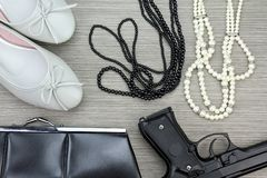 Stylish accessories set for girls and Gun. Women accessories. Stock Photos
