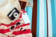 Stylish  accessories . Straw hat , camera and sunglases a  Summe Stock Photo