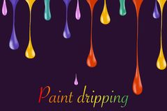 Multicolor paint dripping on background. Stylish acrylic liquid layered colorful painting concept. Stylish acrylic liquid layered colorful painting concept Royalty Free Stock Photo