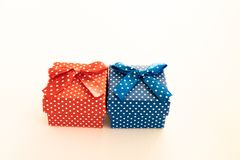 Red and blue beautiful gift box prepared for mothers day stock image