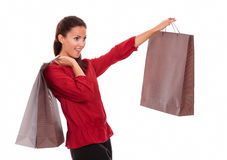 Stylish adult lady with paper bag Royalty Free Stock Image
