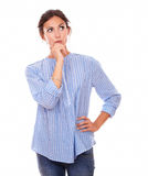 Stylish adult woman asking herself a question Stock Image