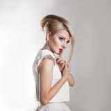 Stylish adult woman with creative hairstyle and beautiful makeup Royalty Free Stock Images