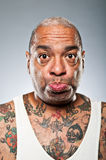 Stylish African American Man With Many Tattoos Pouting Stock Photos