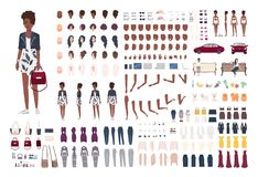 Stylish African American woman constructor. Trendy girl creation set. Various postures, hairstyle, face, legs, hands. Clothes, accessories. Front, side back vector illustration