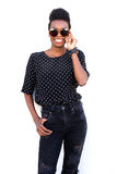Stylish african female model in sunglasses Royalty Free Stock Images