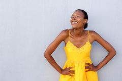 Stylish african woman looking at copy space Stock Images