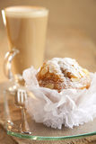 Stylish almond muffin and coffee on background Royalty Free Stock Photos