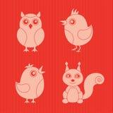 Stylish animals. Four stylish animals on red Stock Image