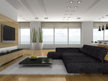 Stylish apartment. View on the stylish apartment 3D rendering Royalty Free Stock Photo