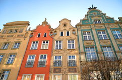 Stylish apartment houses on Long Square in Gdansk, Royalty Free Stock Photography