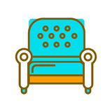 Stylish armchair with blue leather upholstery on legs isolated vector Stock Photo