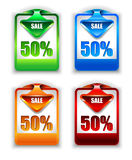 Stylish arrow sale tag over discount  panel Stock Photo
