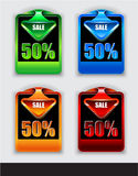 Stylish arrow sale tag over discount  panel Stock Images