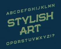 Stylish Art typeface. Retro font. Isolated english alphabet.  stock illustration