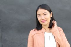 Stylish Asian businesswoman close up with copy space.  Stock Photography