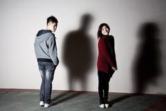 Stylish asian couple on street Royalty Free Stock Image