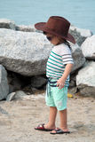 Stylish Asian Kid On Beach Portrait Royalty Free Stock Photos