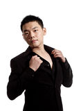 Stylish asian young man. Portrait of stylish asian young guy in black formal attire Royalty Free Stock Image