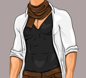 Stylish Attractive Man. Wearing black polo white shirt brown scarf and trousers in comic style vector illustration Royalty Free Stock Images