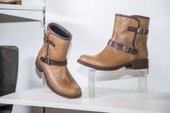 Stylish autumn boots sale Stock Photo