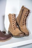 Stylish autumn boots sale Royalty Free Stock Images