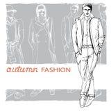 Stylish autumnal dude on grunge background. Stock Images