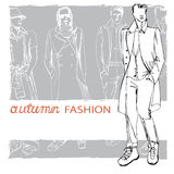 Stylish autumnal dude on grunge background.Fashion. EPS10 grunge background with stylish autumnal dude men in hat.In the style of the outline hand drawing Stock Images