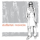 Stylish autumnal dude on grunge background.Fashion. EPS10 grunge background with stylish autumnal dude men.In the style of the outline hand drawing  sketch Royalty Free Stock Photo