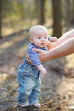 Stylish baby boy outdoors Stock Photo