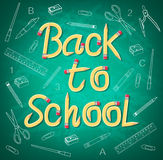 Stylish Back to School Pencil Typography with School Supplies Drawing Royalty Free Stock Photography