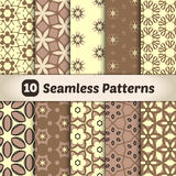 Stylish backdrops collection. Seamless patterns with floral motives in chocolate colors. Eps 10 vector illustration Stock Photography