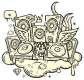 Stylish background. With DJ's turntable on white background Stock Photos