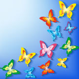 Stylish background with 3d colorful butterflies Stock Photography