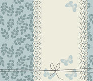 Stylish background with leaves and lace frame. For your designs Royalty Free Stock Image